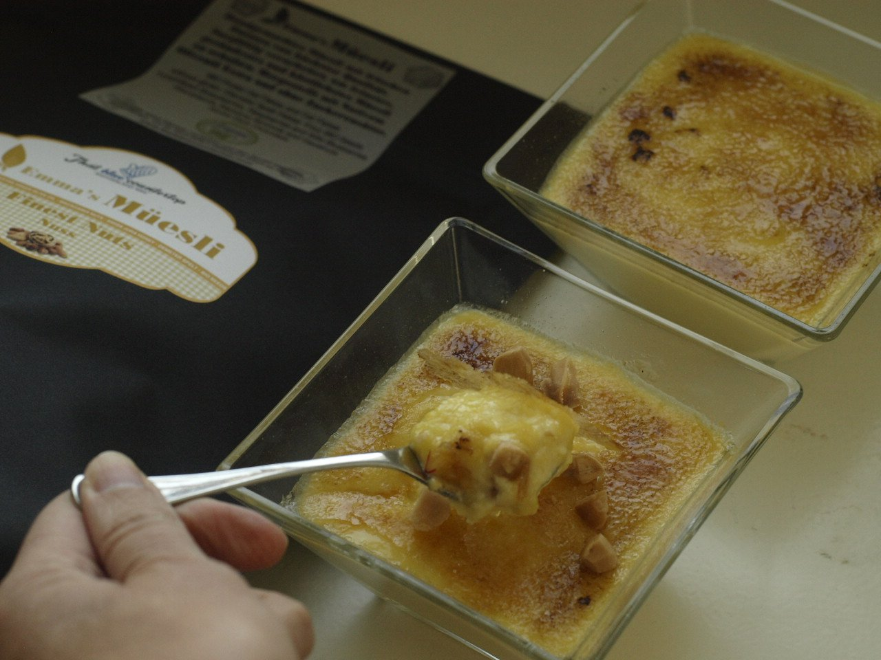 Sous Vide Creme Brulee with Camomile and Macadamia Nuts